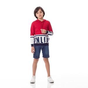 T-Shirt Infantil / Kids Em Meia Malha Penteada Com Recortes E Estampa Frontal - Um Mais Um Vermelho