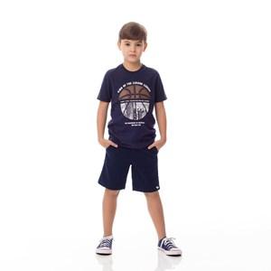 T-Shirt Infantil/Kids Masculino Em Meia Malha Penteada - Um Mais Um Marinho