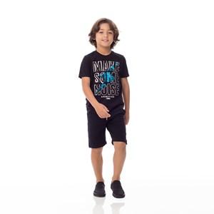 T-Shirt Infantil/Kids Masculino Em Meia Malha Penteada - Um Mais Um Preto