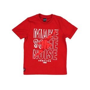 T-Shirt Infantil/Kids Masculino Em Meia Malha Penteada - Um Mais Um Vermelho