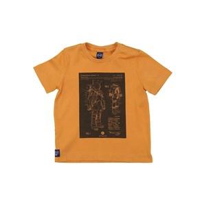 T-Shirt Infantil Masculina Algodão Sustentável Com Estampa Frontal Ocre
