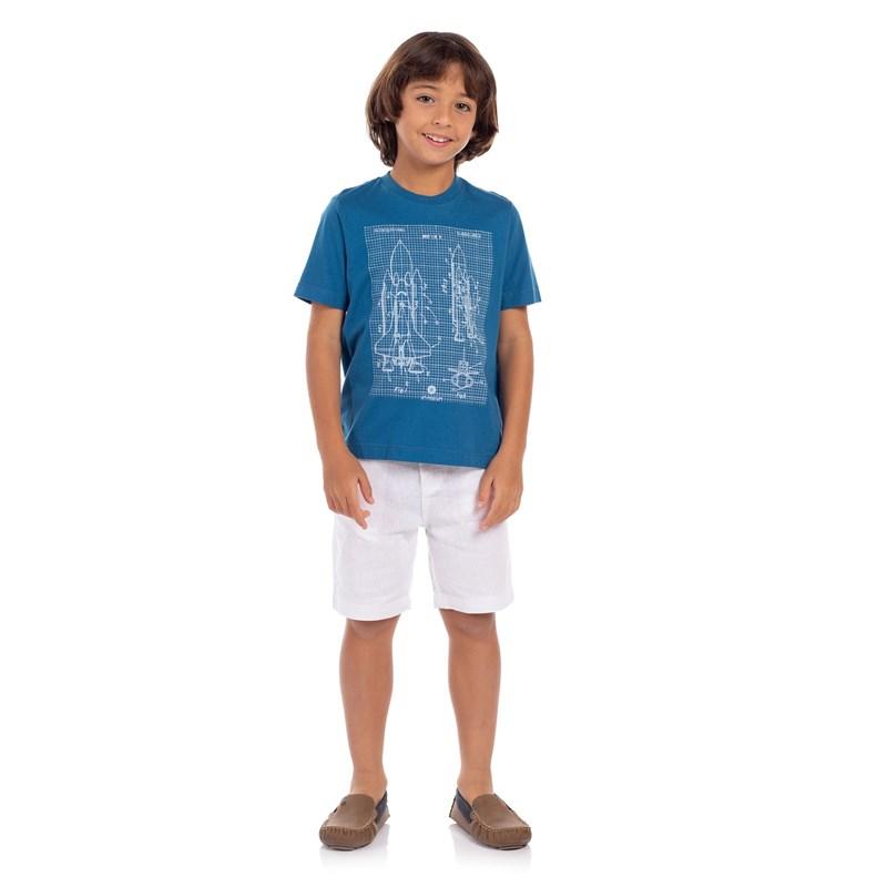 T-Shirt Infantil Masculina Algodão Sustentável Com Estampa Frontal Petroleo