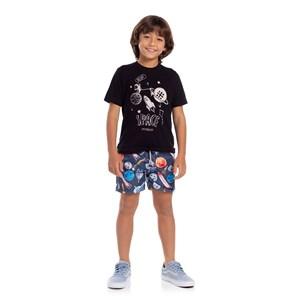 T-Shirt Infantil Masculina Algodão Sustentável Com Estampa Frontal Preto
