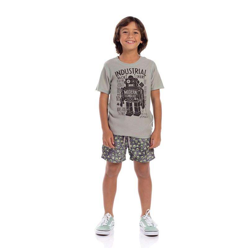 T-Shirt Infantil Masculina Dupla Face Verde