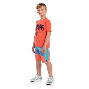 T-Shirt Infantil Masculina Estampa Frontal Coral