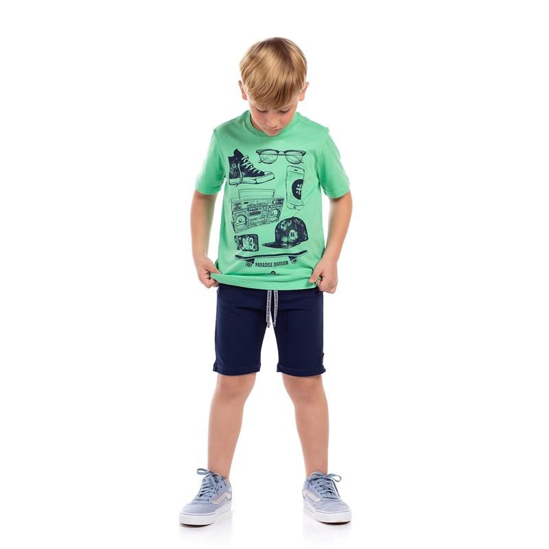 T-Shirt Infantil Masculina Estampa Frontal Verde