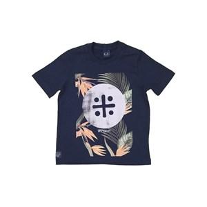 T-Shirt Infantil Masculina Estampa Um Mais Um Tropical Marinho