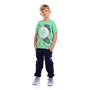 T-Shirt Infantil Masculina Estampa Um Mais Um Tropical Verde