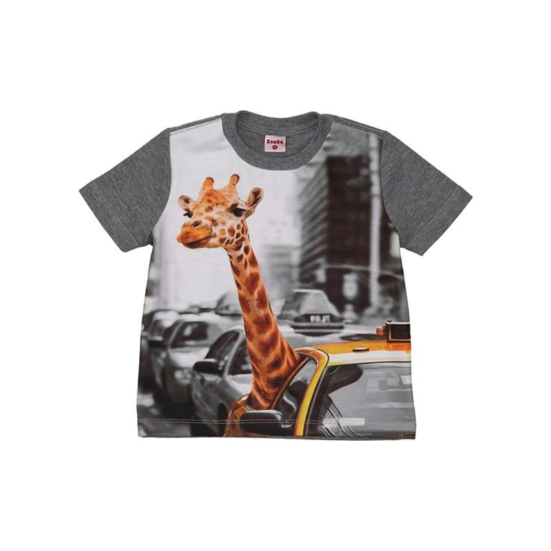 T shirt infantil masculina manga curta estampa girafinha no taxi GRAFITE