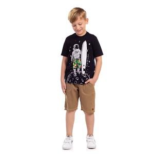 T-Shirt Infantil Masculina Sustentável Estampa Astronalta Preto