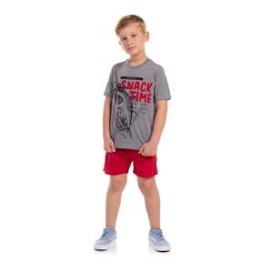 T-Shirt Infantil Masculina Sustentável Estampa Tubarão Grafite