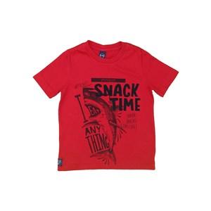 T-Shirt Infantil Masculina Sustentável Estampa Tubarão Vermelho