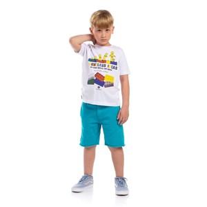 T-Shirt Infantil Masculina Sustentável Estampas Coloridas Branco