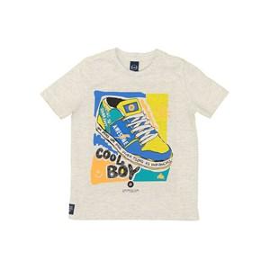 T-Shirt Infantil Masculina Sustentável Estampas Coloridas Mescla Claro