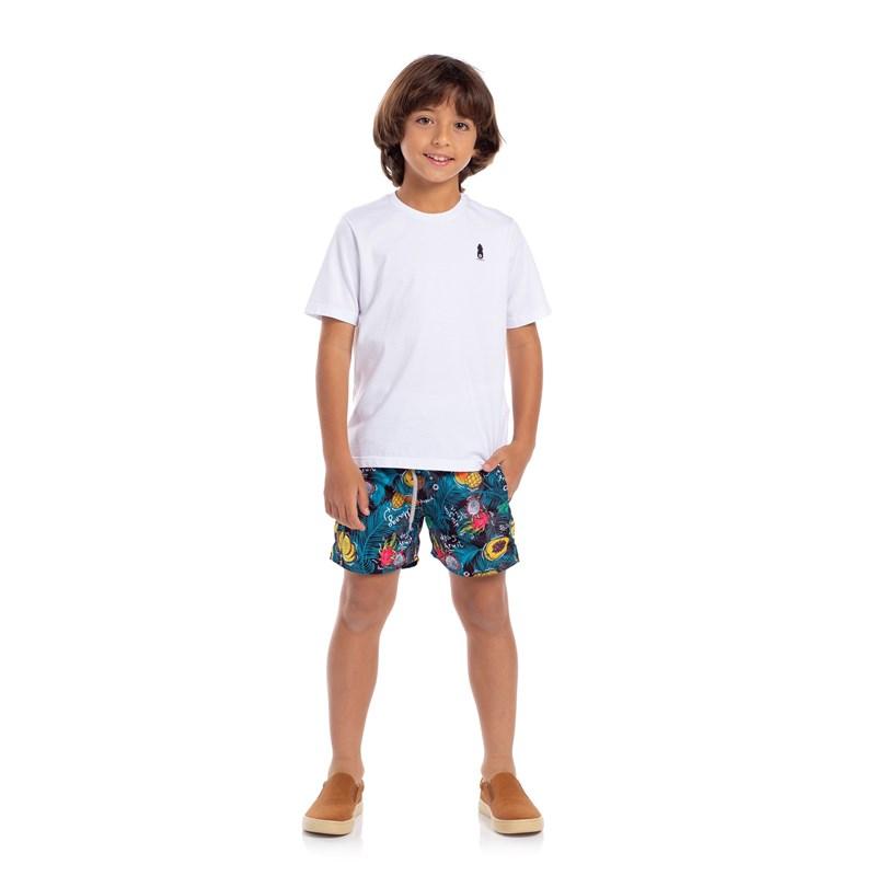 T-Shirt Infantil Sustentável Estampa Verão Branco