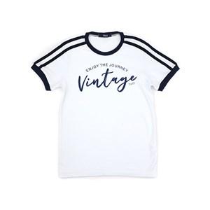T-Shirt Infantil / Teen Em Malha Penteada C/Estampa Frontal - Two Branco