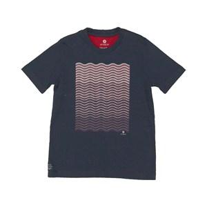 T shirt manga curta com estampa frontal ondulada Marinho