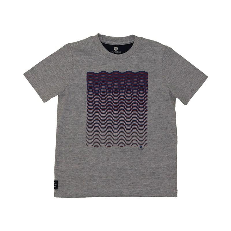 T shirt manga curta com estampa frontal ondulada MESCLA ESCURO