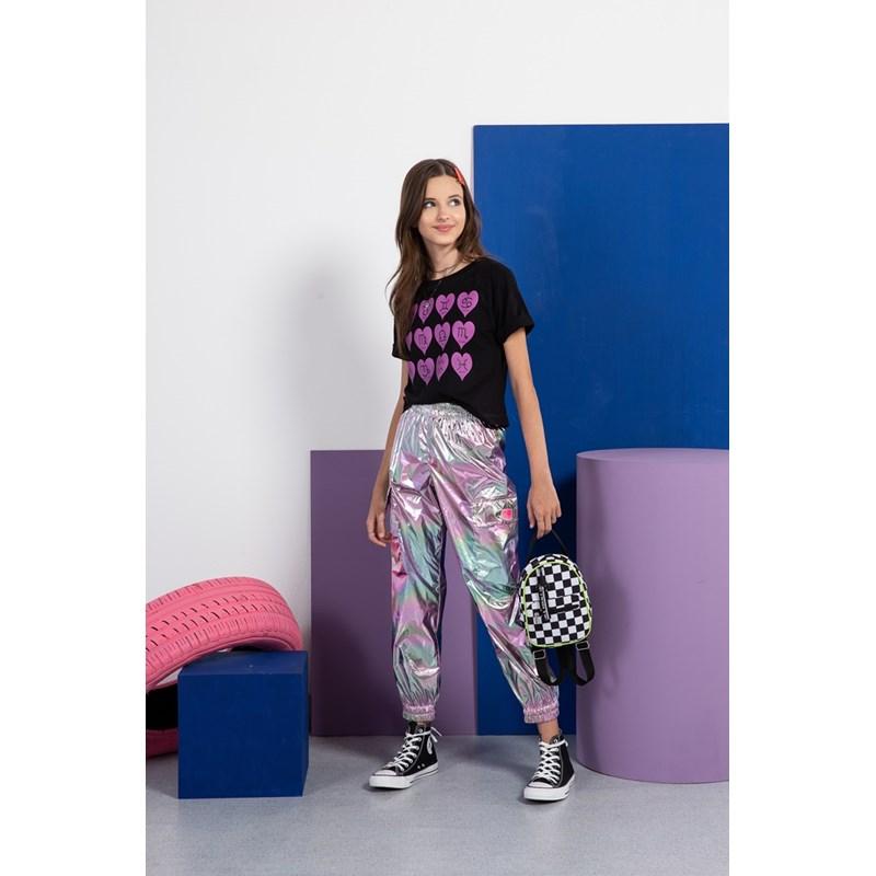 T shirt manga curta teen feminina signos Preto