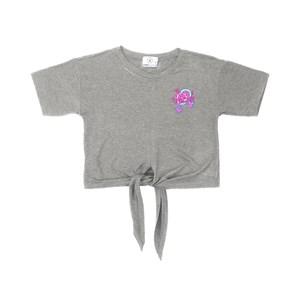 T shirt manga curta teenn em malha com amarraçao frontal e detalhe bordado CINZA CLARO