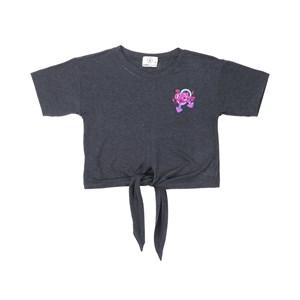 T shirt manga curta teenn em malha com amarraçao frontal e detalhe bordado Preto