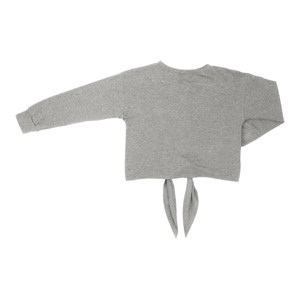 T shirt manga longa teenn em malha com amarraçao frontal e detalhe bordado CINZA CLARO