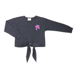 T shirt manga longa teenn em malha com amarraçao frontal e detalhe bordado Preto