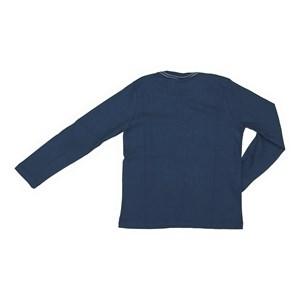 T shirt masculina basica lisa em algodao sustentavel manga longa Marinho