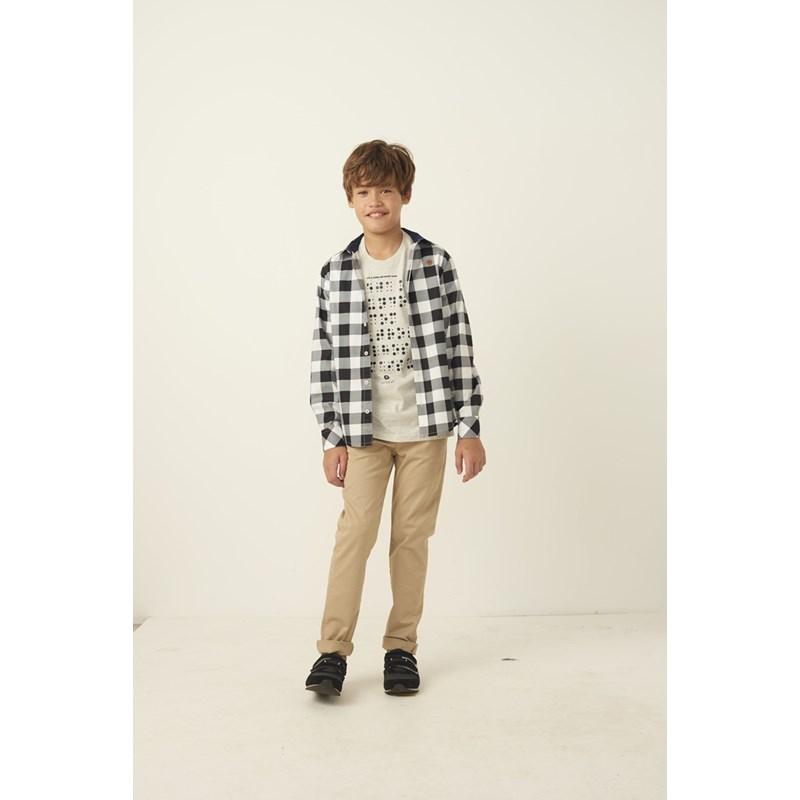 T shirt masculina estampa braille em algodao sustentavel manga curta MESCLA CLARO