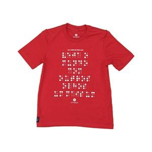 T shirt masculina estampa braille em algodao sustentavel manga curta Vermelho