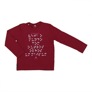 T shirt masculina estampa braille em algodao sustentavel manga longa Vermelho