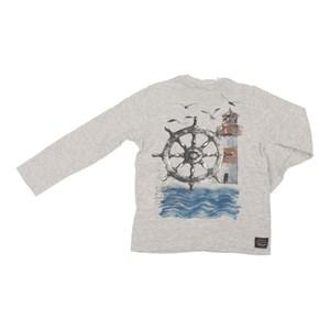 T shirt masculina estampa leme navio e farol manga longa MESCLA CLARO
