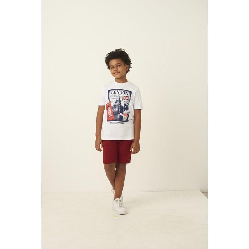 "T shirt masculina estampa ""LONDON"" em algodao sustentavel manga curta BRANCO"