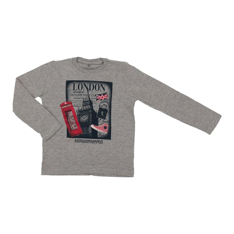 "T shirt masculina estampa ""LONDON"" em algodao sustentavel manga longa MESCLA ESCURO"