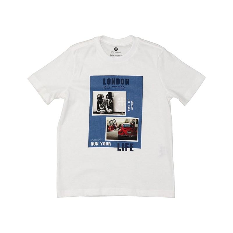 T shirt masculina estampa tenis e fusca em algodao sustentavel manga curta CRU