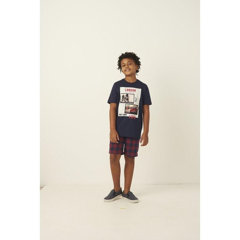 T shirt masculina estampa tenis e fusca em algodao sustentavel manga curta Marinho