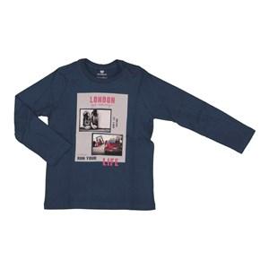 T shirt masculina estampa tenis e fusca em algodao sustentavel manga longa Marinho