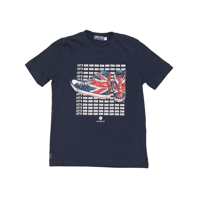T shirt masculina estampa tênis Reino Unido manga curta Marinho