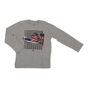 T shirt masculina estampa tênis Reino Unido manga longa MESCLA ESCURO