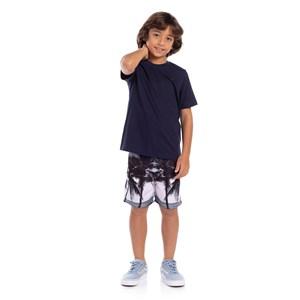 T-Shirt Masculina Infantil Algodão Sustentável Marinho