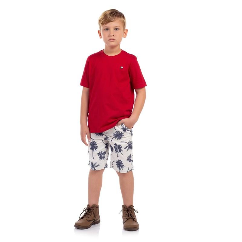 T-Shirt Masculina Infantil Algodão Sustentável Vermelho