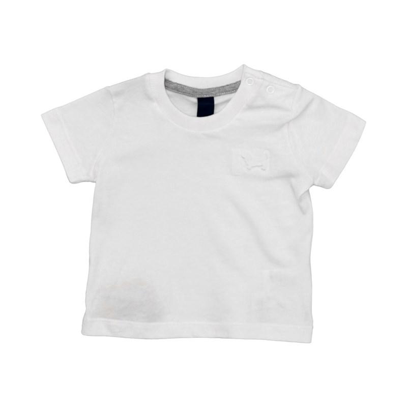 T-Shirt Masculina Infantil / Baby Em Malha Penteada Com Apliques De Termocolante - Um Mais Um Branco