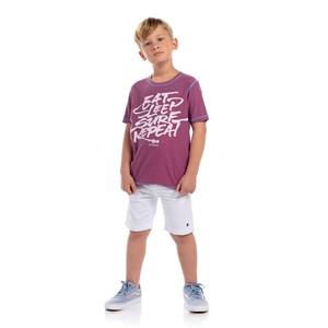 T-Shirt Masculina Infantil Dupla Face Estampada Azul