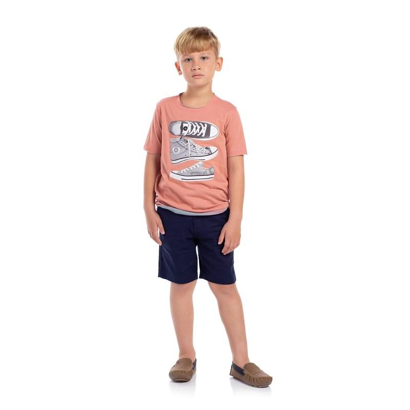 T-Shirt Masculina Infantil Dupla Face Estampada Salmao