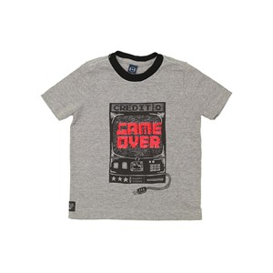 T-Shirt Masculina Infantil Sustentável Estampa Game Over Grafite