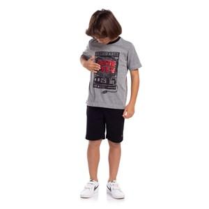 T-Shirt Masculina Infantil Sustentável Estampa Game Over Grafite