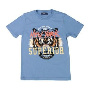 T-Shirt Masculina Infantil / Teen Em Malha Penteada Com Piquet E Entretela - Twoin Azul Jeans