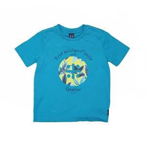 T-Shirt Sustentável Estampa Um Mais Um Paradise Az Turquesa