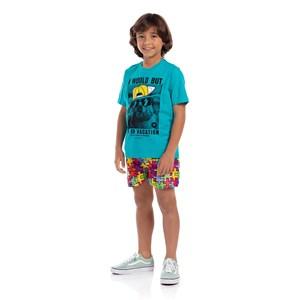 T-Shirt Sustentável Masculina Infantil Estampada Az Turquesa