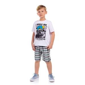 T-Shirt Sustentável Masculina Infantil Estampada Branco